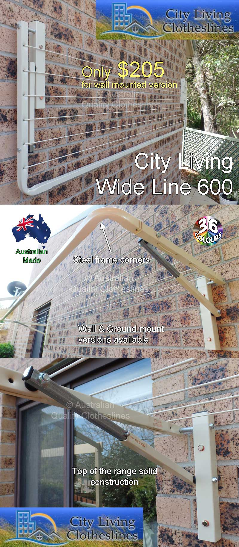 City living Wide Line 600 fold down clothesline
